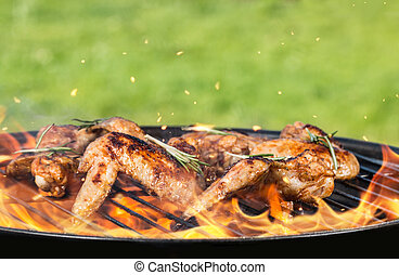 Chicken wings on grill