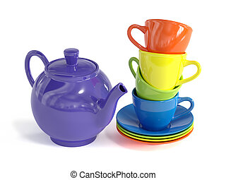 Teapot and colorful cups isolated on white background - 3d...