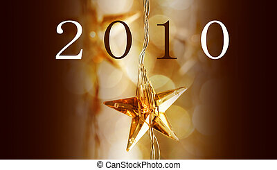 New Year 2010 - Golden Christmas stars with new year 2010...