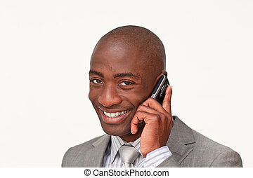 Portrait of an Afro-American businessman on phone