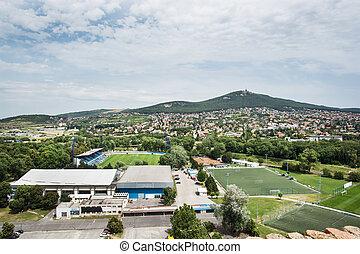 Football stadium in Nitra city and hill Zobor Slovak...