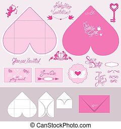 Set of Wedding invitation cards and envelopes in heart shape wit