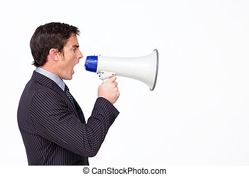 Businessman speaking into a megaphone - Young businessman...