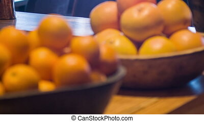Selective focus on fresh oranges - Fresh ripe oranges....