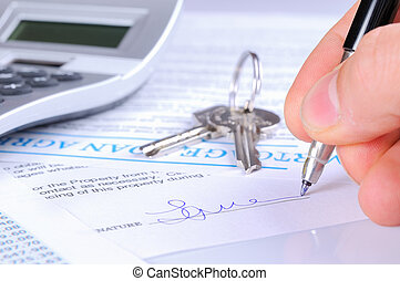 Signing the mortgage contract to delivery of keys with...
