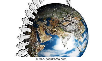 People turning around the planet. Concept of togetherness