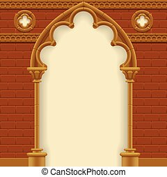 Gothic arch and wall - Stone gothic arch and wall. Antique...