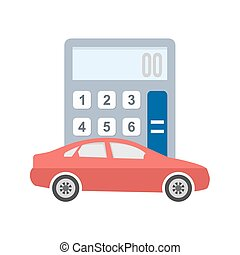 Auto Loan Calculator - Car, vehicle, calculation icon vector...