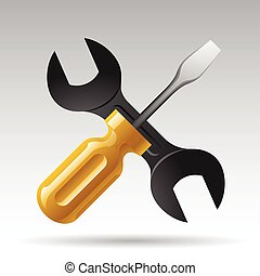 Screwdriver and wrench website icon Vector illustration
