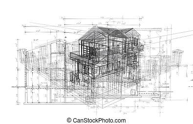 building structure - 3d Illustration of building, House Plan...