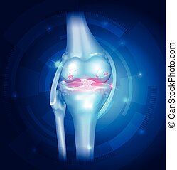 Knee Osteoarthritis abstract blue background - Knee...