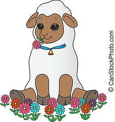 sheep sits - Sheep sits with a flowers