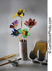 Flower bouquet made in kids creative activity - Cut and...