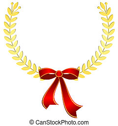 Gold laurel wreath with red ribbon (vector)