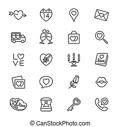 Valentines day thin icons - Simple vector icons Clear and...