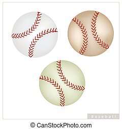 Set of Baseball Ball on White Background - Sports and...