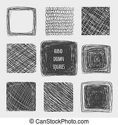 Hand drawn lines textures Scribbled set of squares