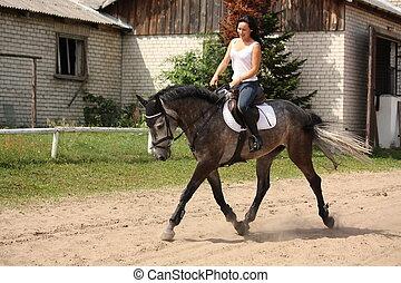 Beautiful woman riding gray horse - Beautiful caucasian...
