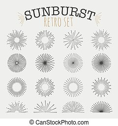 Set of vintage sunbusrt Big set of elements on a gray...