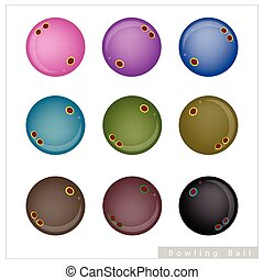 Set of Bowling Balls on White Background - Sports and...