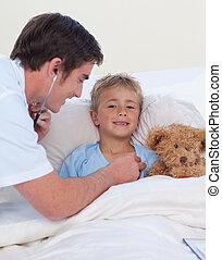 doutor, jovem,  breaht, Estetoscópio, Escutar, criança