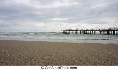 Sea in cloudy weather - Sea coast of the Mediterranean Sea...