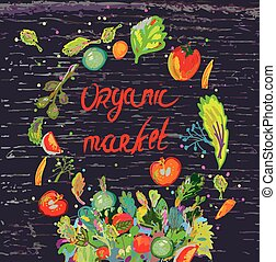 Organic market banner for with fresh vegetables