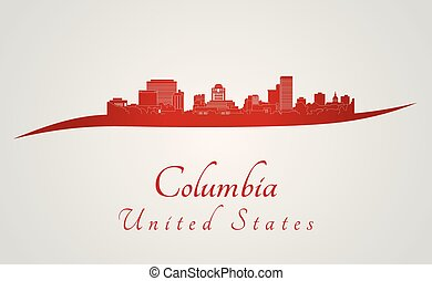 Columbia skyline in red and gray background in editable...