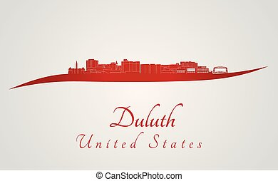 Duluth skyline in red and gray background in editable vector...