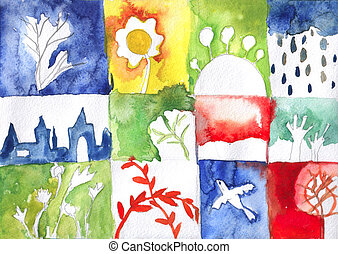 Watercolor abstract backgrouns of nature - hand drawn set
