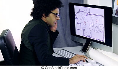 handsome architect working - Cool handsome architect working...