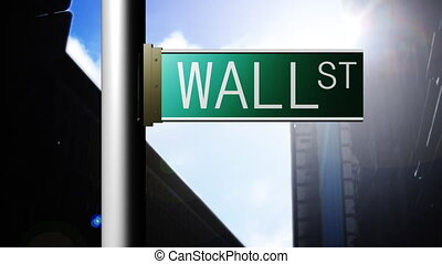 Animation of Wall Street in New York Finance place