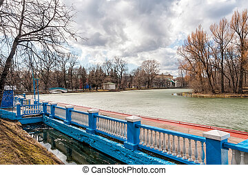Gorky Park in Winter - A view of the pond in Gorky Park in...