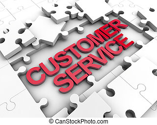 Customer Service puzzle tiles over white background