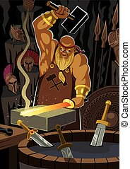 Hephaestus - The smith god Hephaestus / Vulcan, forging a...