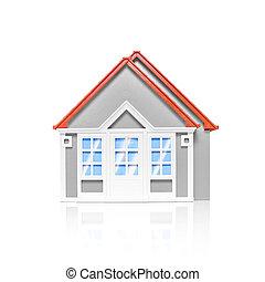 Model house isolated on white - Studio image of modest...