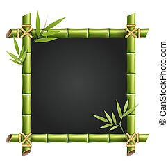 Bamboo frame with leafs isolated on white