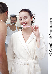 浴室, 婦女, 他們, 清掃, 牙齒, 人