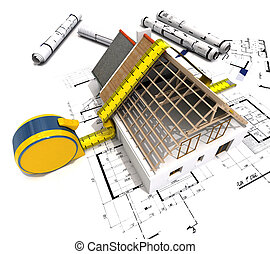 Measuring construction - 3D rendering of a house under...
