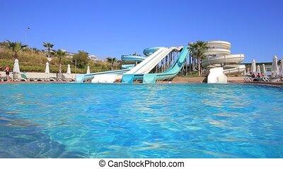 Aquapark slides - Outdoor aquapark slides at the resort