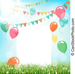 Celebration background with frame buntings air balls grass and sunlight on sky