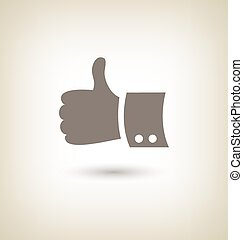 Thumb up gesture Good icon hand on beige background