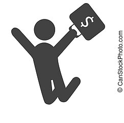 Business finance icon with jumping man with suitcase with money isolated on white