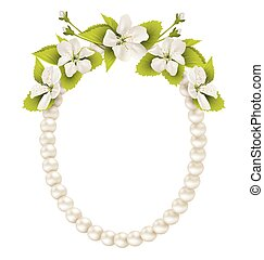 Pearl oval like frame with cherry flowers isolated on white...