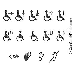 Disability people information flat icons pictograms isolated on white