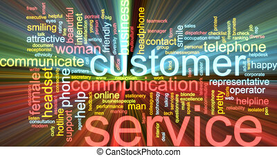 Customer service word cloud glowing - Word cloud concept...