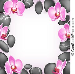 Spa stones with orchids flowers like frame on pink background