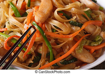 Delicious food: fried noodles with chicken and vegetables...