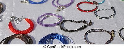 pulga, mercado, pulseiras, venda, coloridos