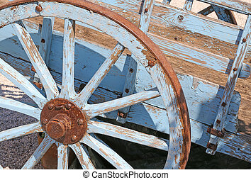 wagon wheel for the transportation of hay in the countryside...